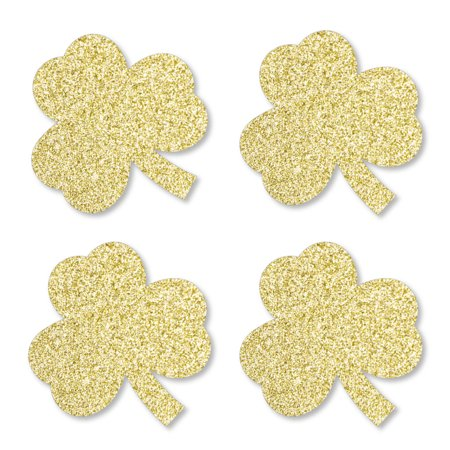 Glitter Shamrocks (Gold Glitter Shamrocks - No-Mess Real Gold Glitter Cut-Outs - St. Patrick's Day Party Confetti - Set of)