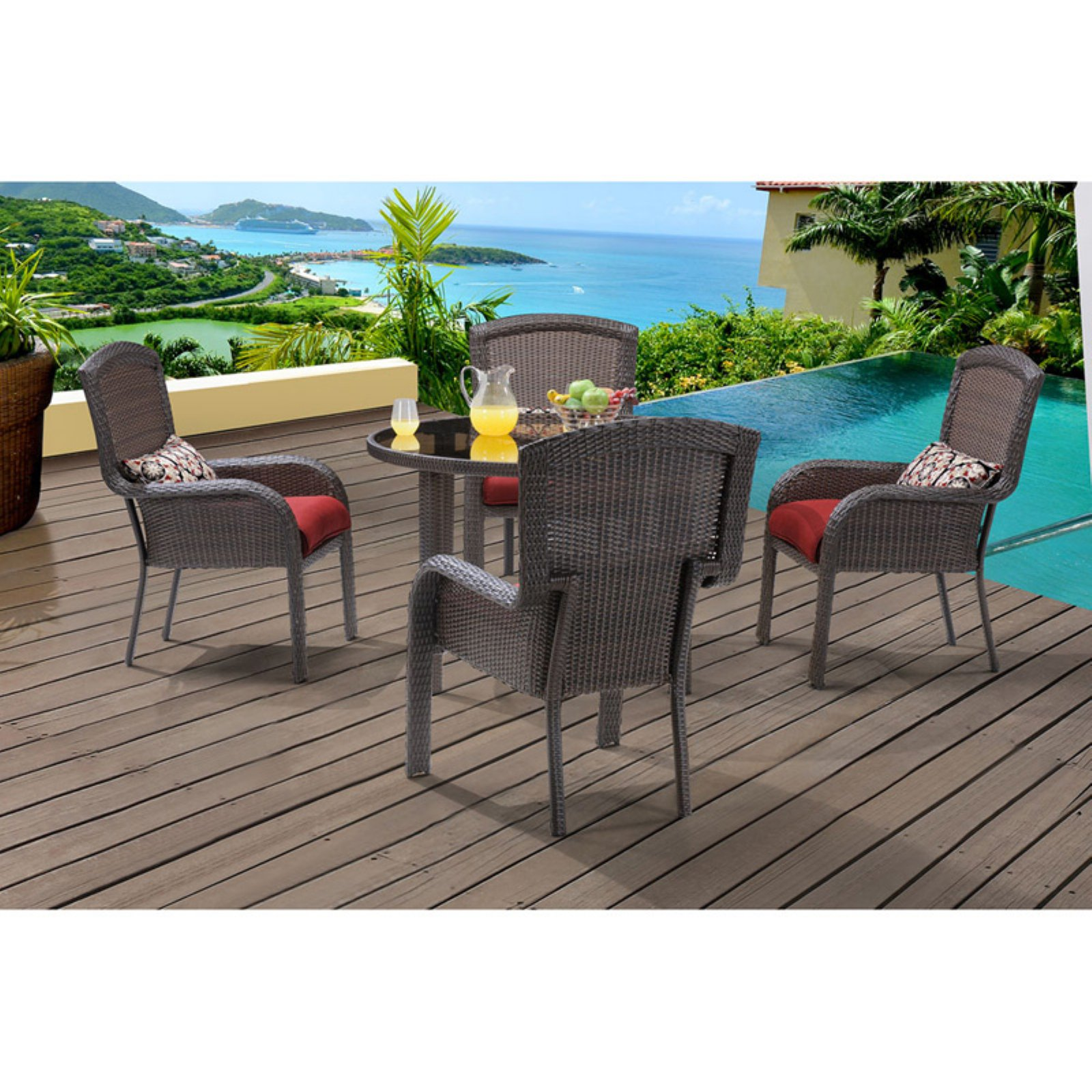 "Hanover Outdoor Strathmere 5-Piece Dining Set with 48"" Round Table, Crimson Red/Aged Barrel"