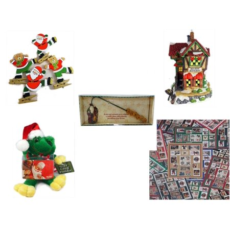 "Christmas Fun Gift Bundle [5 Piece] - Set of 4 Wooden Clothes Pin Ornaments -  Village ""Red River Restaurant"" Lighted Porcelain House - Debbie Mumm Button Santa Candle Snuffer -  Santa Frog  Gift Ca"