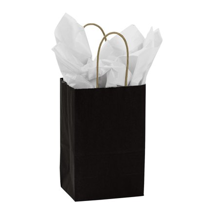 Small Black Paper Shopping Bags - Case of 25 Black is the original chic color. You can still add color to your store, without going too bold. These black shopping bags feature handles and a gusset and are more tear resistant, providing durability, convenience, and simple storage options. All of our wholesale paper shopping bags are in stock and available for immediate shipment. Sold in cases of 25.