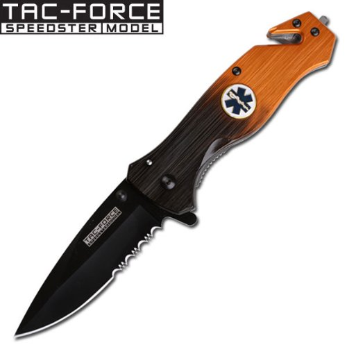 - Assisted Open EMS FOLDING KNIFE W/ CLIP, Seatbelt Cutter and Glass Breaker, Assisted Open