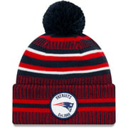 New England Patriots New Era 2019 NFL Sideline Home Official Sport Knit Hat - Navy/Red - OSFA