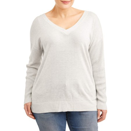 Poof Women's Plus Size Tie Cut Back Sweater (Plus Size Sweater Vests)