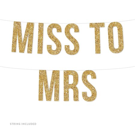 Gold Miss to Mrs. Real Glitter Paper Pennant Hanging Banner Includes String No Assembly - Paper Banners
