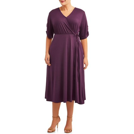Terra & Sky Women's Plus Size Midi Wrap Dress