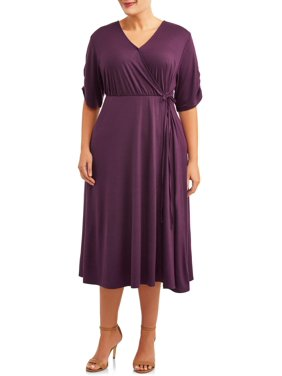 Terra & Sky Women's Plus Size Solid Midi Faux Wrap Dress with Ruched Elbow Sleeves