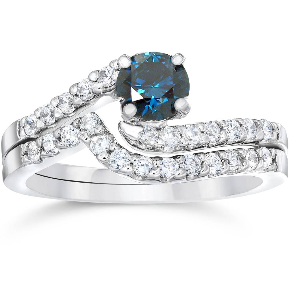 3 4ct Heat Treated Blue White Diamond Womens Engagement Wedding