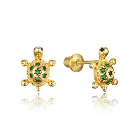Baby Turtle Earrings - 14k Gold Plated Brass Turtle Cubic Zirconia Screwback Baby Girls Earrings with Sterling Silver Post