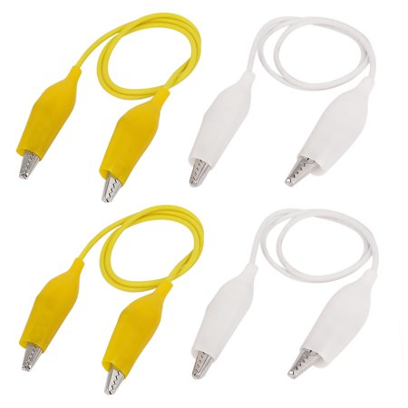4PCS Insulated Alligator Clip Jumper Probe Testing Work Wire White ...
