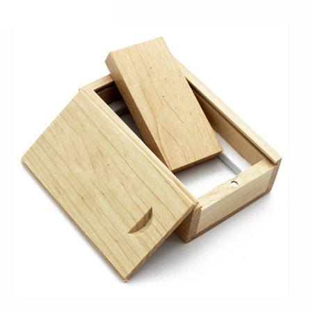 USB Flash Drive Maple Wood Photo Album Box Storage Device For Laptops Notebook - image 9 de 11