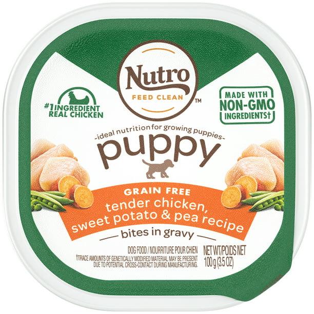NUTRO PUPPY Grain Free Wet Dog Food Bites in Gravy Tender Chicken, Sweet Potato & Pea Recipe, 3.5 oz. Tray