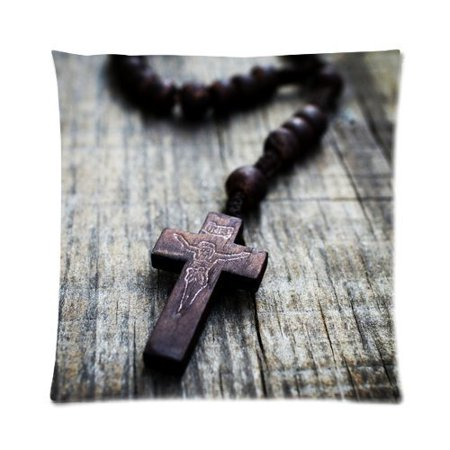 Zippered Rosary Case - ARTJIA A Rosary Cross on Wooden Background. Picture Zippered Throw Pillow Cover Cushion Case 16x16 inches Two Sides Printing