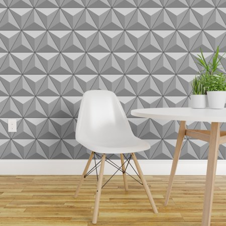 Removable Water Activated Wallpaper Geometric Faceted Triangles Space