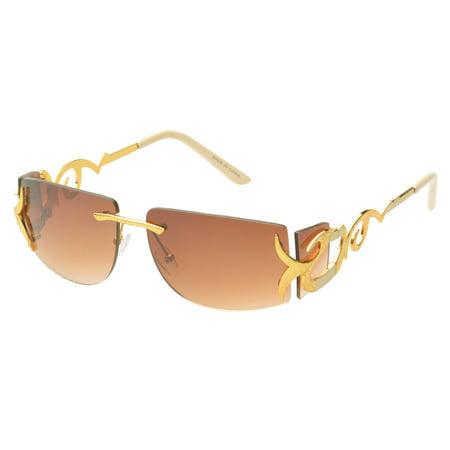 MLC Eyewear 'Cassia' Rimless Rectangle Fashion Sunglasses in (Amber Sun Glasses)