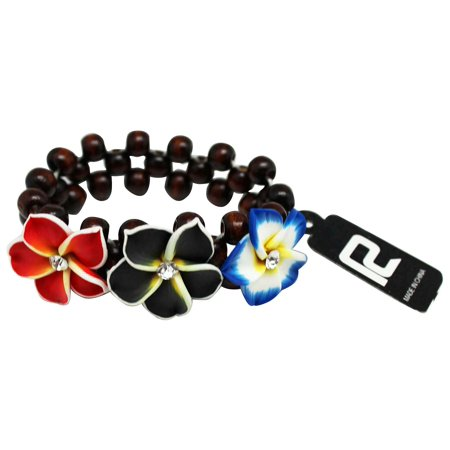 Fashion Jewelry Coco Beads - Multiple Colored Tropcial Coco Flower Bracelet With Brown Beads