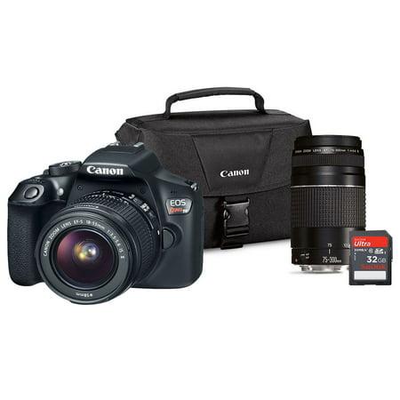 Canon EOS Rebel T6 DSLR Camera Lens Bundle, EF-S 18-55mm IS, EF75-300 III