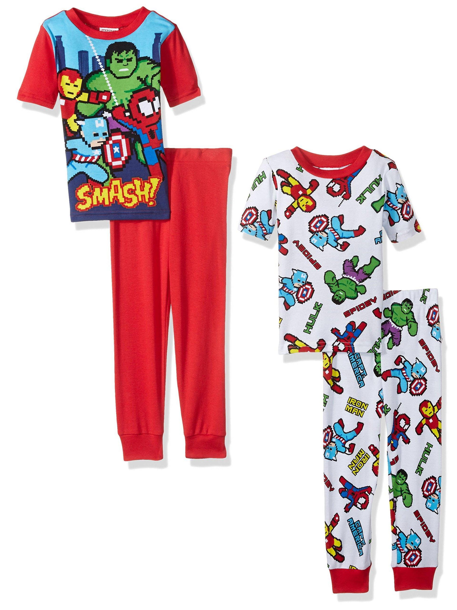 Marvel Boys' Superhero 4-Piece Cotton Pajama Set