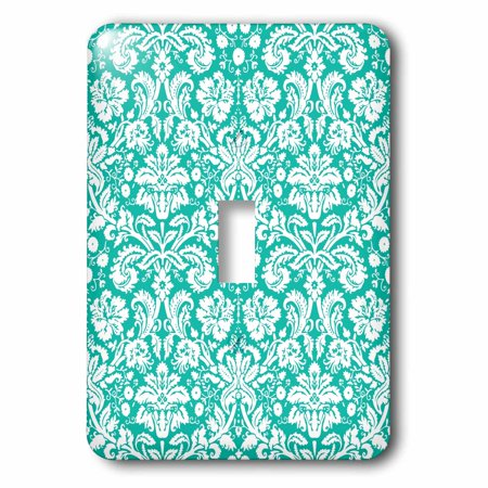 3dRose Aqua blue and white damask pattern - teal turquoise - classic stylish vintage French floral swirls - Single Toggle Switch (Vintage Classic Single)