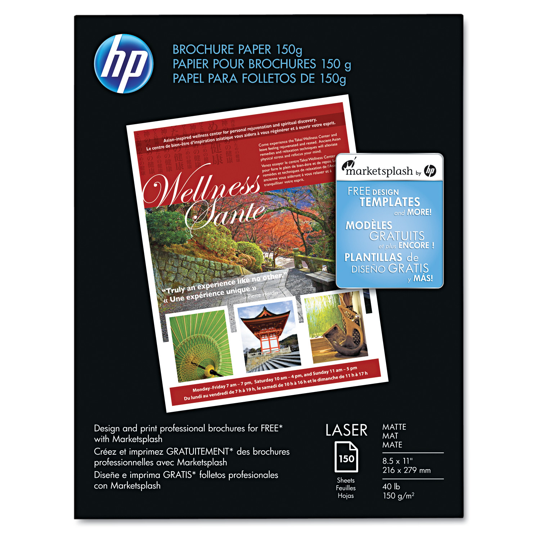 HP Color Laser Brochure Paper, 98 Brightness, 40lb, 8-1/2 x 11, White, 150 Shts/Pk -HEWQ6543A