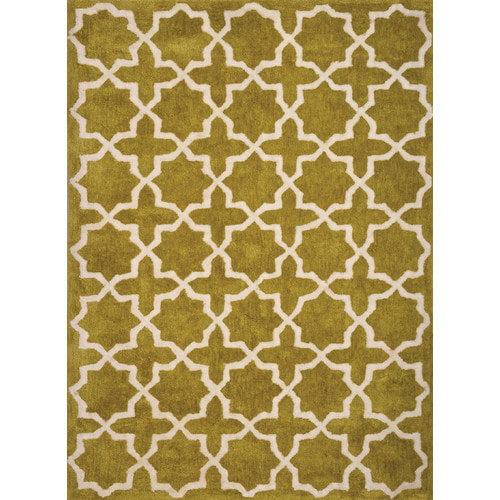 Wildon Home   Lifestyle Hollis White/Chartreuse Trellis Rug