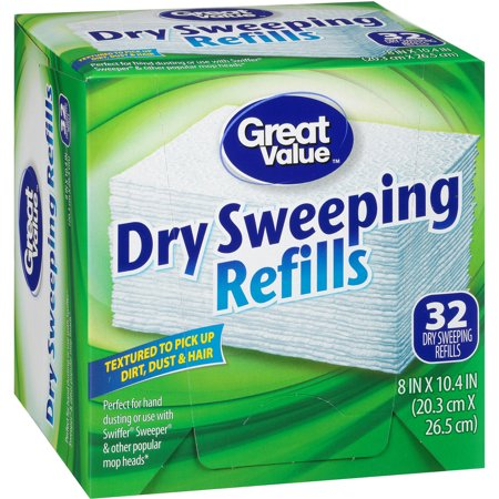 Great Value Dry Sweeping Refills, 32 Count