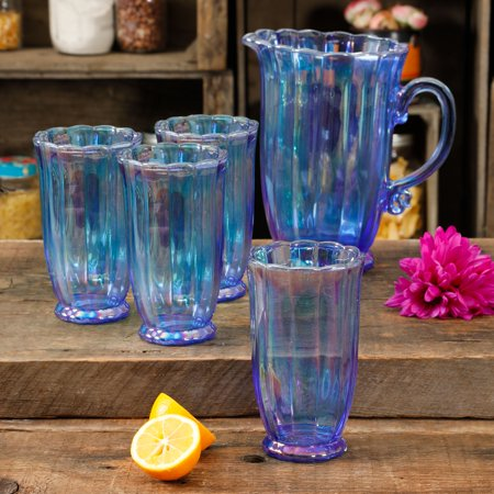 The Pioneer Woman Luster 5-piece Pitcher and Tumbler Set, Blue Sky Blue Pitcher
