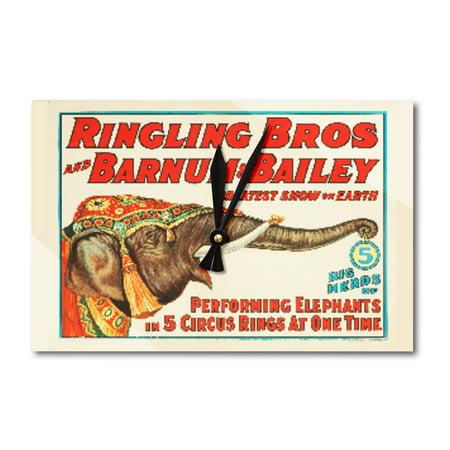 Ringling Bros and Barnum & Bailey - Performing Elephants Vintage Poster USA c. 1934 (Acrylic Wall Clock)