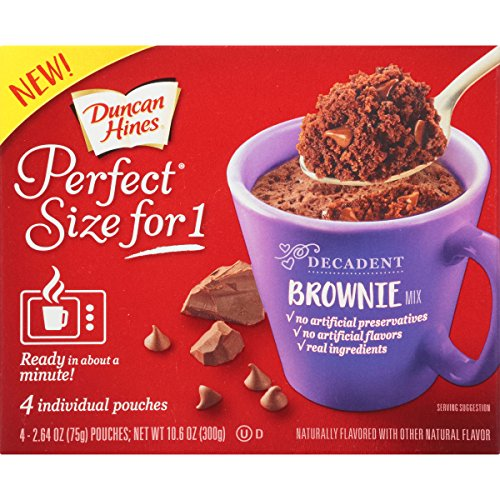 (16 Pouches) Duncan Hines Perfect Size for One Decadent Brownie Mix, 2.64 oz