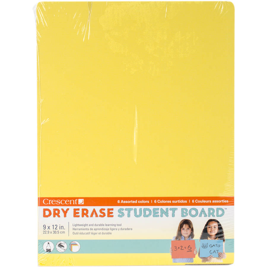 "Student Dry Erase Boards 9""X12"" 6/Pkg-Assorted Colors"
