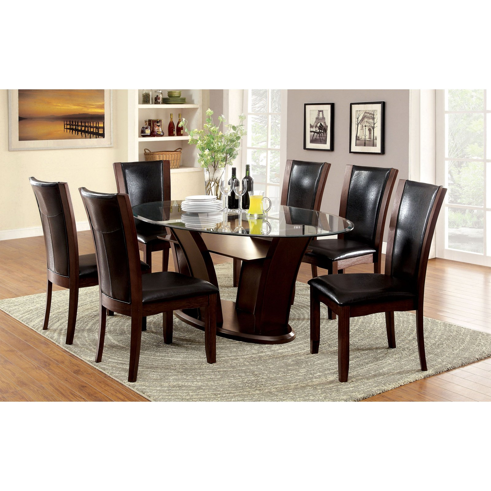 Furniture of America Lavelle 7 Piece Tempered Glass Top Dining Table Set