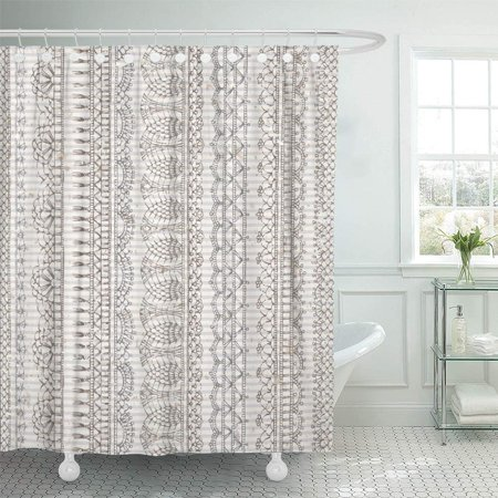 PKNMT Vintage Crochet Sketch Boundless Vertical Knitted Lacy Edgings on Old Striped Bathroom Shower Curtain 66x72 inch