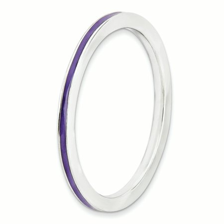 925 Sterling Silver Purple Enameled 1.5mm Band Ring Size 7.00 Stackable Ed Fine Jewelry Gifts For Women For Her - image 2 de 8
