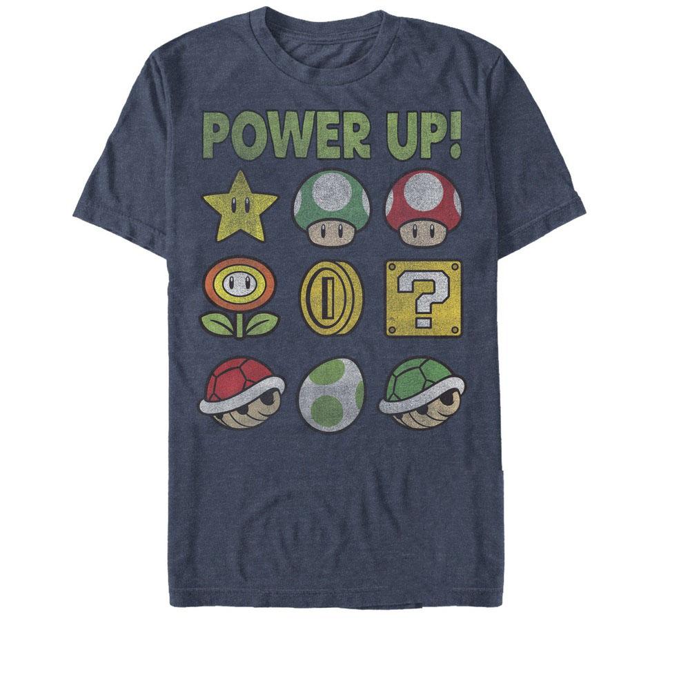 Nintendo Men's Super Mario Power Up Bingo T-Shirt