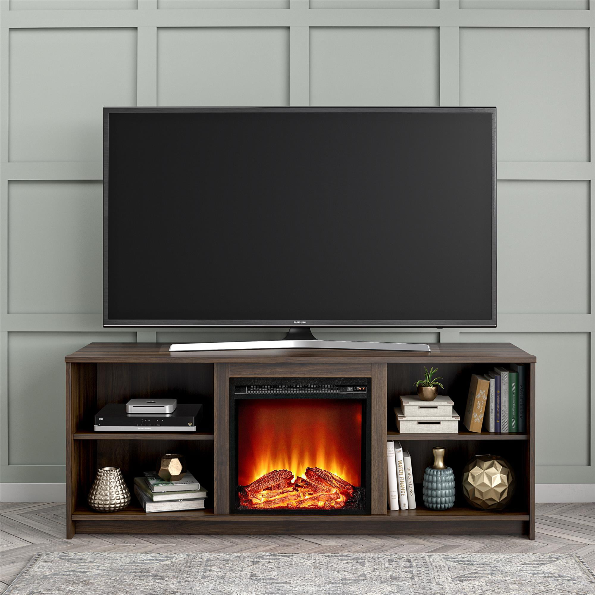 Mainstays Fireplace Tv Stand For Tvs Up To 65 Black Oak Walmart Com Walmart Com