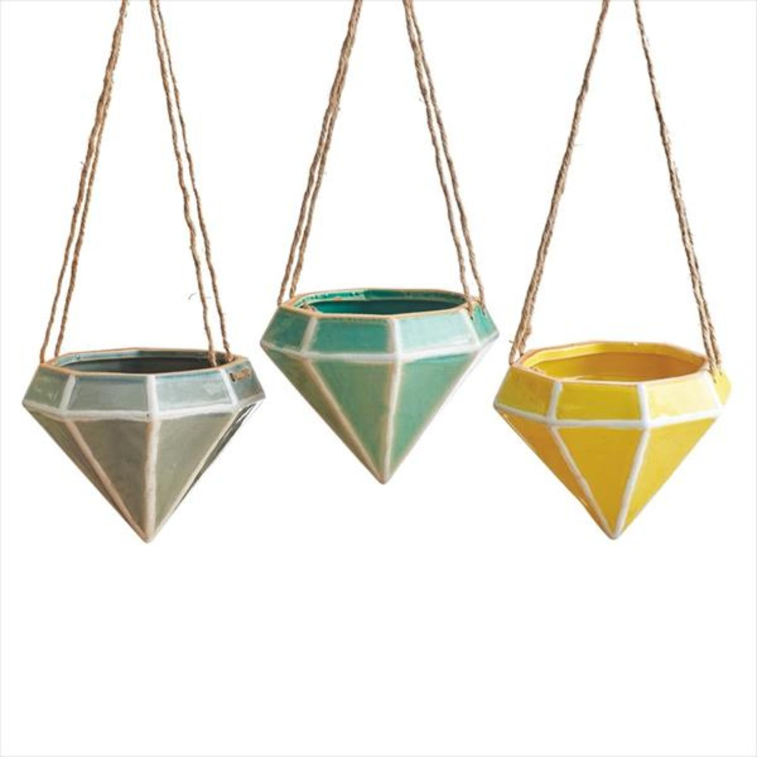 Pack of 6 Slate Gray, Seafoam Green and Lemon Yellow Ceramic Hanging Diamond Planters 5.75""