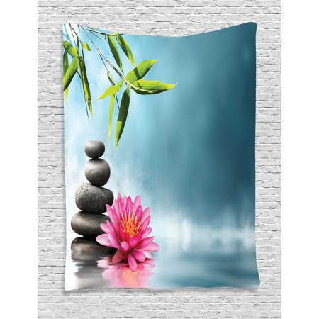 Spa Decor Wall Hanging Tapestry, Spa Theme Picture With Lily Lotus Flower And Rocks Yoga Style Purifying Your Soul Theme, Bedroom Living Room Dorm Accessories, By Ambesonne