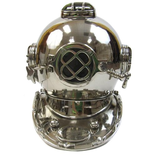 EC World Imports Reproduction Chrome Finish U.S. Navy Mark V Aluminum Diving Helmet Sculpture by ecWorld Enterprises