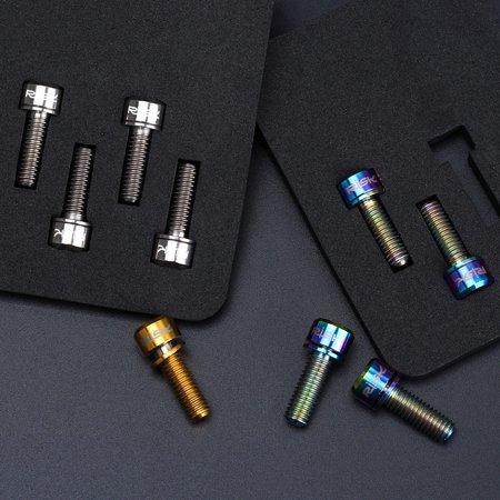 RISK 4PCS M6×18/20mm Titanium Ti Bolts Screws for MTB Disc Brake Caliper  with Adaptor Spacer
