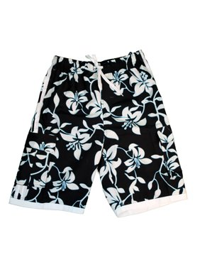 Men's Swim Trunk in Black with Blue Floral XL