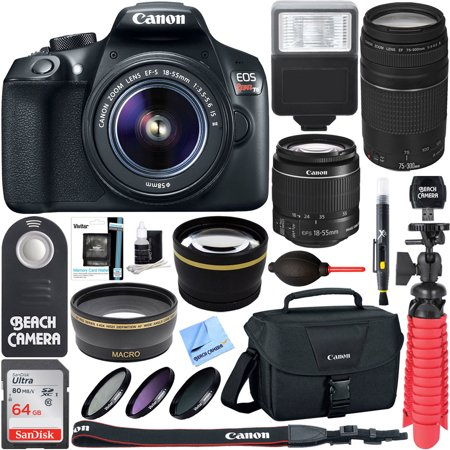 Canon T6 EOS Rebel DSLR Camera w/ EF-S 18-55mm IS II & 75-300mm III Lens Kit + Accessory Bundle 64GB SDXC Memory + SLR Photo Bag + Wide Angle Lens + 2x Telephoto Lens + Flash + Remote + Tripod &