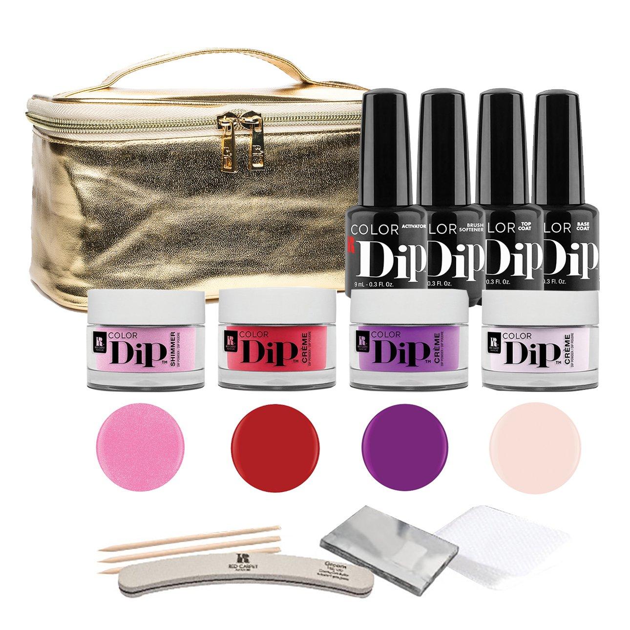 Red Carpet Manicure Color Dip Nail Powder Starter Kit | Purple, Red, & Pink