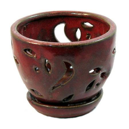 Ceramic Orchid Pot/Saucer 5 3/4