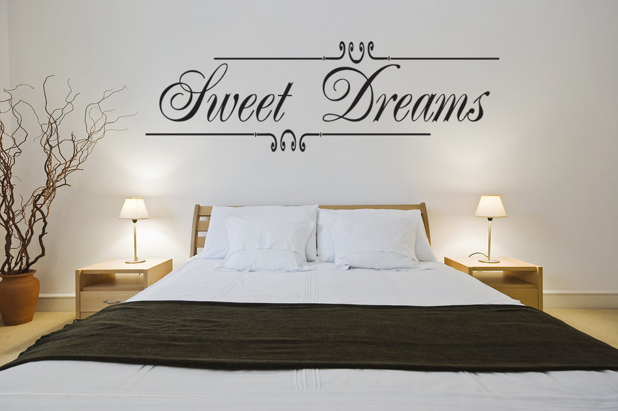 SWEET DREAMS vinyl wall decals bedroom script vinyl wall stickers