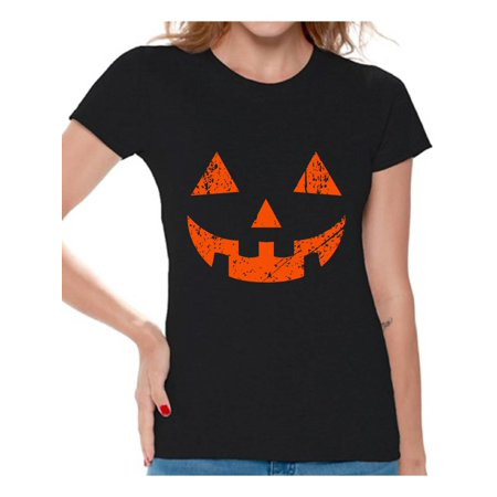 Awkward Styles Halloween Shirts for Women Jack O' Halloween Graphic T-Shirt Funny Pumpkin Trick or Treat Halloween Shirts Jack O-Lantern Design - Halloween Messages For Boyfriend