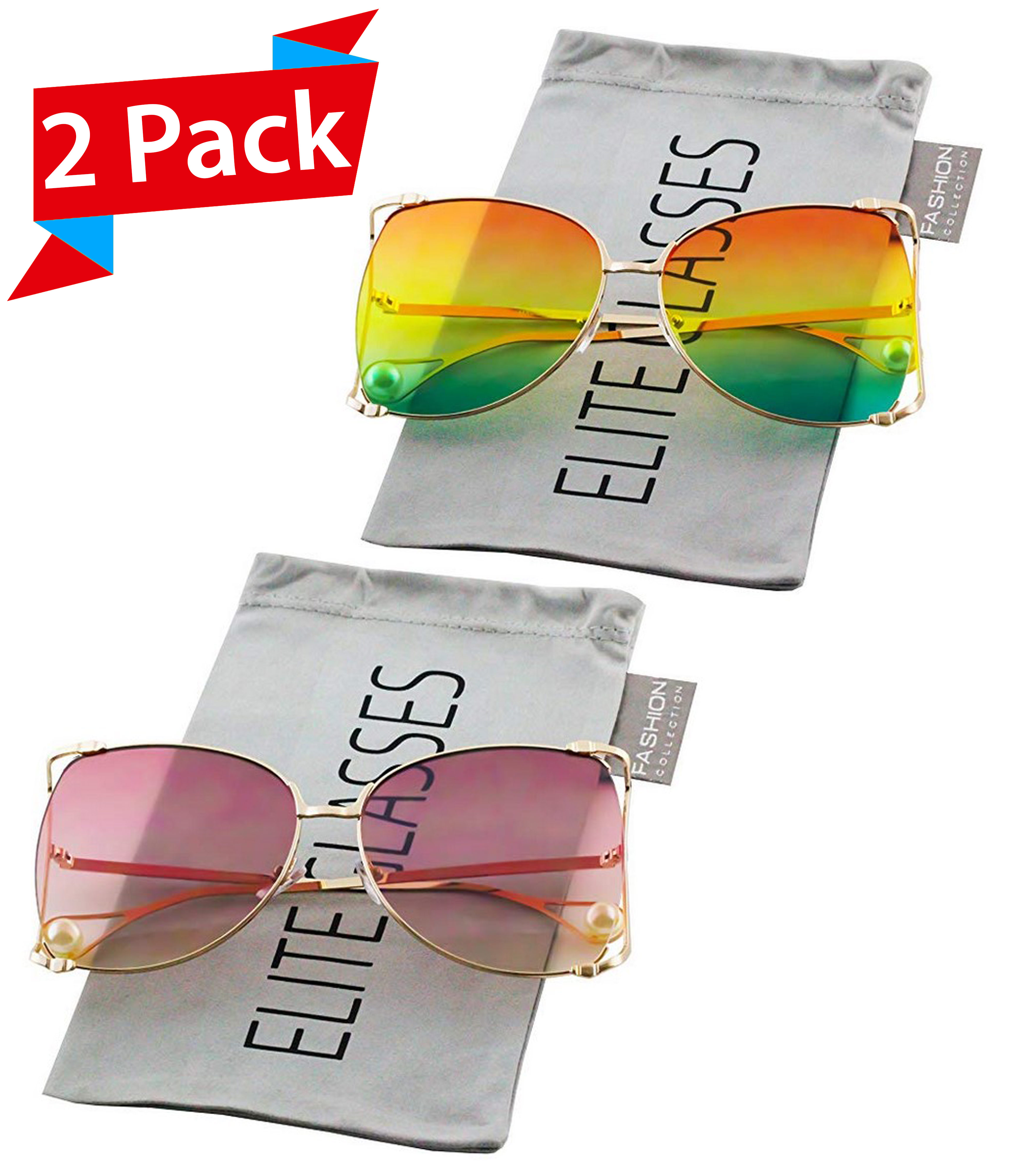 8d4be1b305fb Elite Glasses - Oversized Designer Sunglasses Fashion Women Pearl Retro  Oceanic Clear Lens Oval Lip Sun Glasses 2018 - Walmart.com