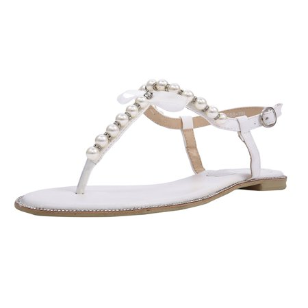 SheSole Women's Flat Bridal Beach Wedding Sandals for Bride Shoes Pearl