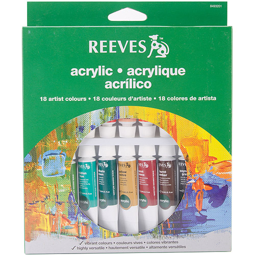 Reeves Assorted Colors Acrylic Paint Set, 18Pk