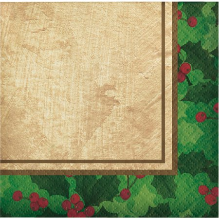 Ivory Holly - Club Pack of 432 Green and Ivory Gilded Holly 2-Ply Beverage Napkin 10