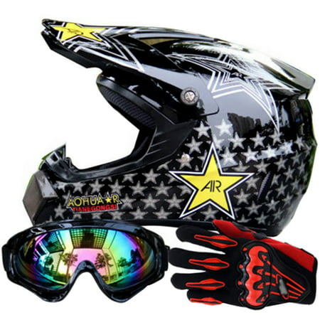 TINTON LIFE MotoCross Racing Helmet Xtreme Sports Off Road for ATV Dirt Bike Helmet With Goggles And Gloves, - Off Road Goggles Riding Gear