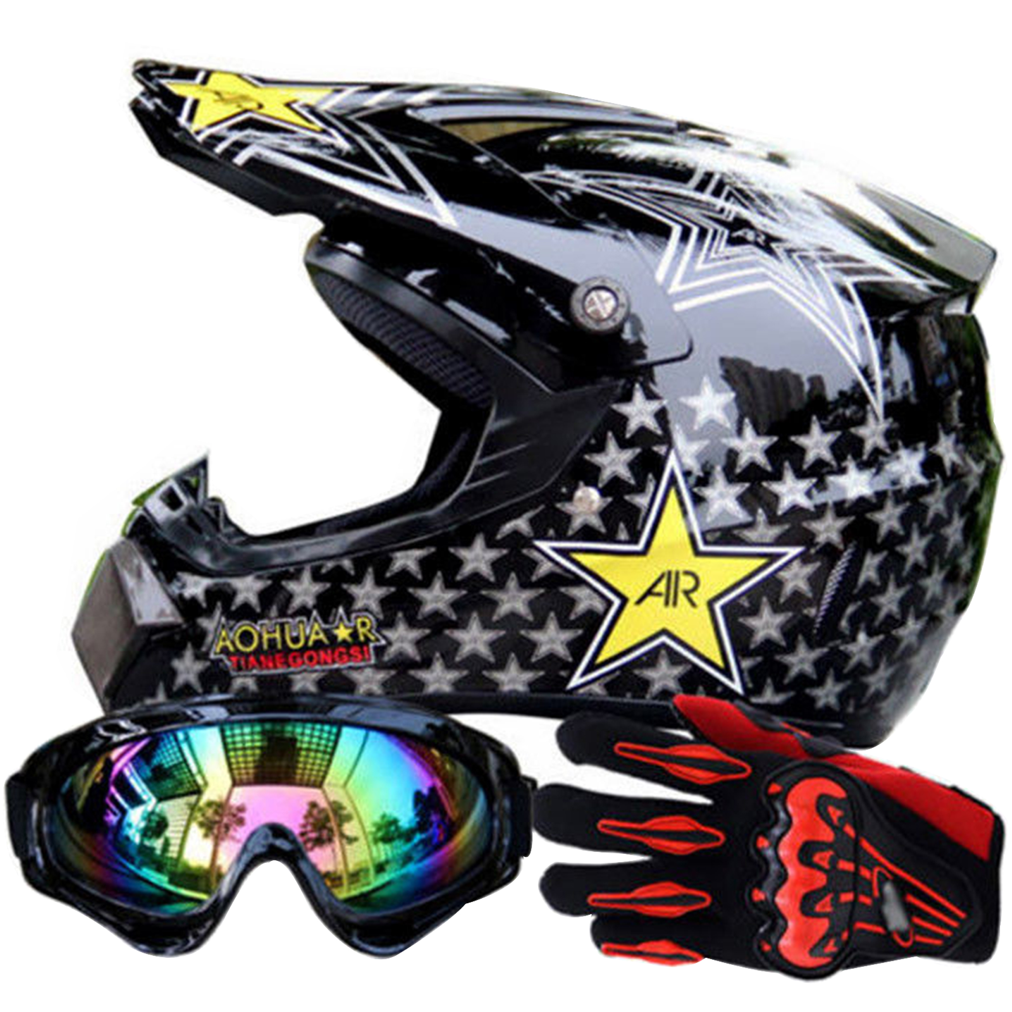 TINTON LIFE MotoCross Racing Helmet Xtreme Sports Off Road for ATV Dirt Bike Helmet With Goggles And Gloves, color3